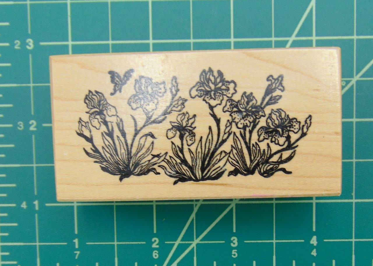 Psx e 612 iris flower garden butterfly blossoms rubber for Rubber stamps arts and crafts