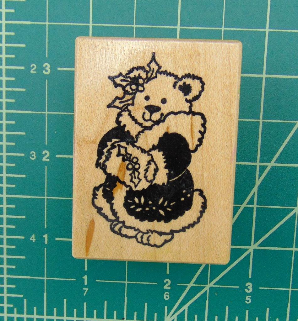 Psx d 298 christmas bear mink coat berry holly rubber for Rubber stamps arts and crafts