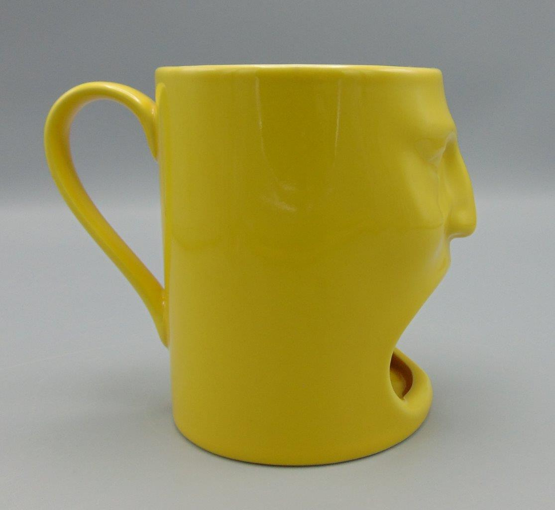 Ceramic Yellow Cordon Bleu Tiki 6 Oz Face Mug Coffee Tea